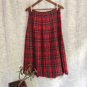 Briggs Wool Blend Red Plaid Pleated Midi Skirt